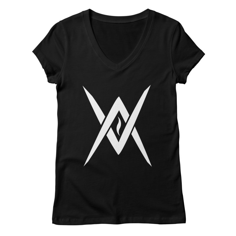 "Venus Aeon - ""Tantric Black Flame"" (White) Women's V-Neck by Venus Aeon (clothing)"