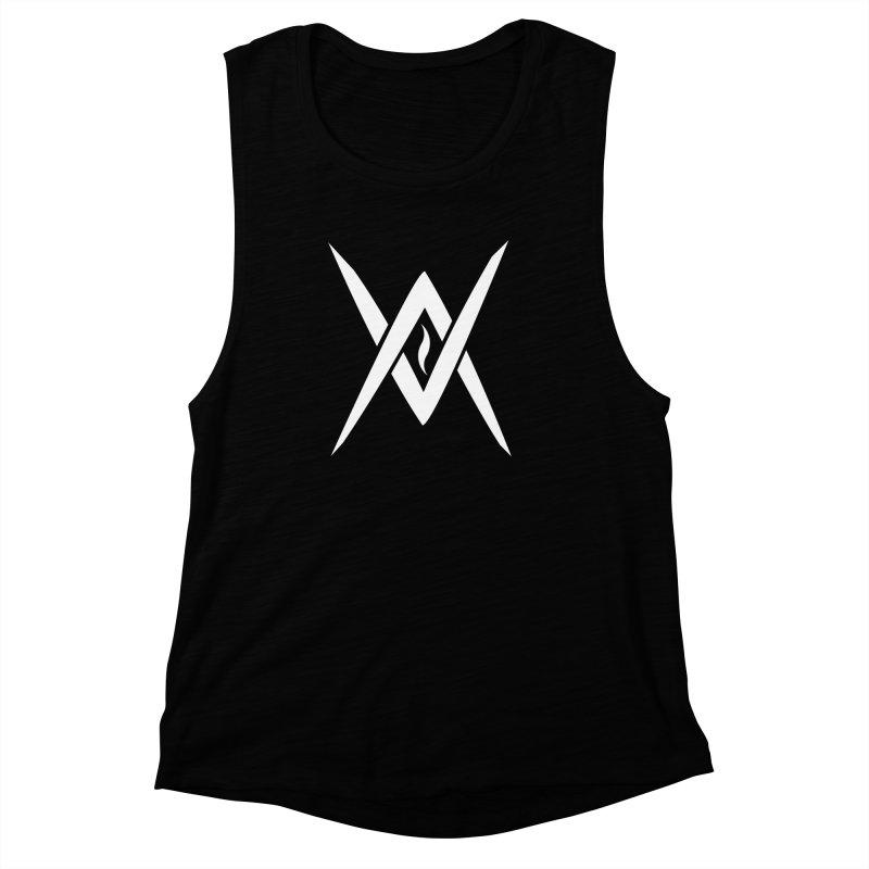 "Venus Aeon - ""Tantric Black Flame"" (White) Women's Muscle Tank by Venus Aeon (clothing)"
