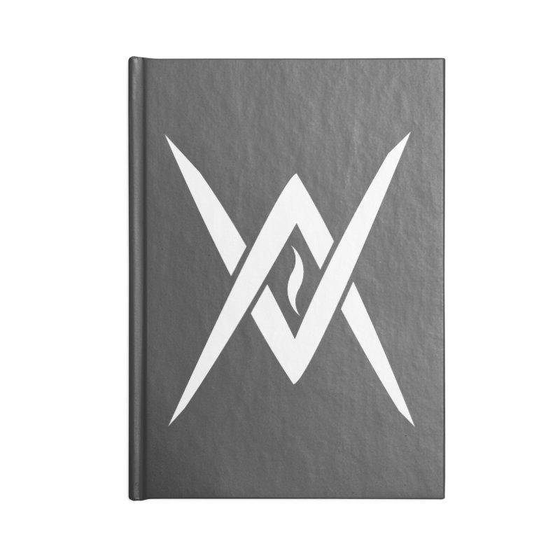 "Venus Aeon - ""Tantric Black Flame"" (White) Accessories Lined Journal Notebook by Venus Aeon (clothing)"