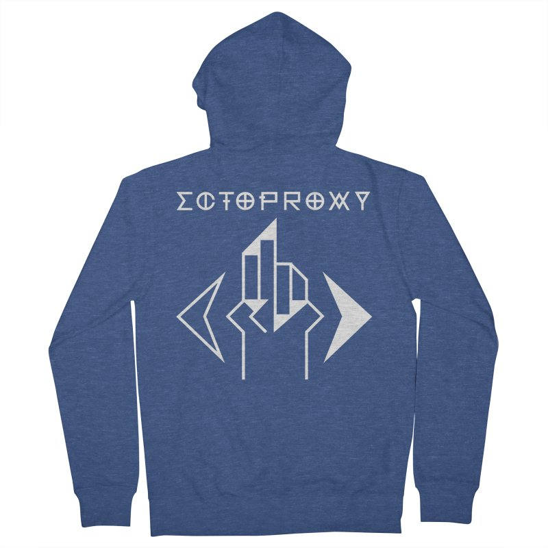 Ectoproxy (white) Men's French Terry Zip-Up Hoody by Venus Aeon (clothing)