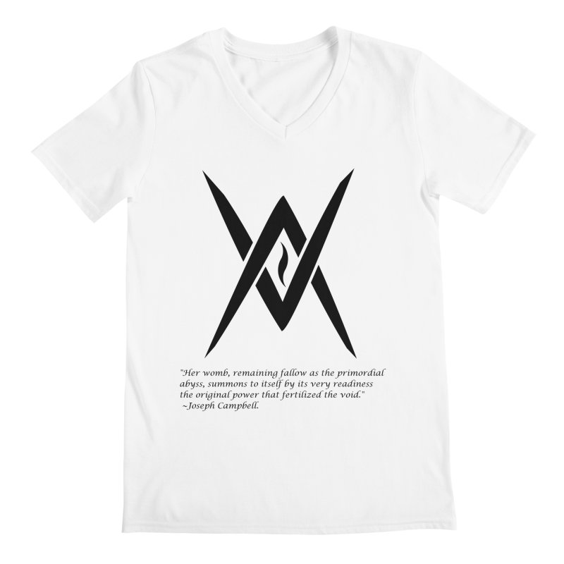 Tantric Black Flame (black) w/ quote Men's V-Neck by Venus Aeon (clothing)
