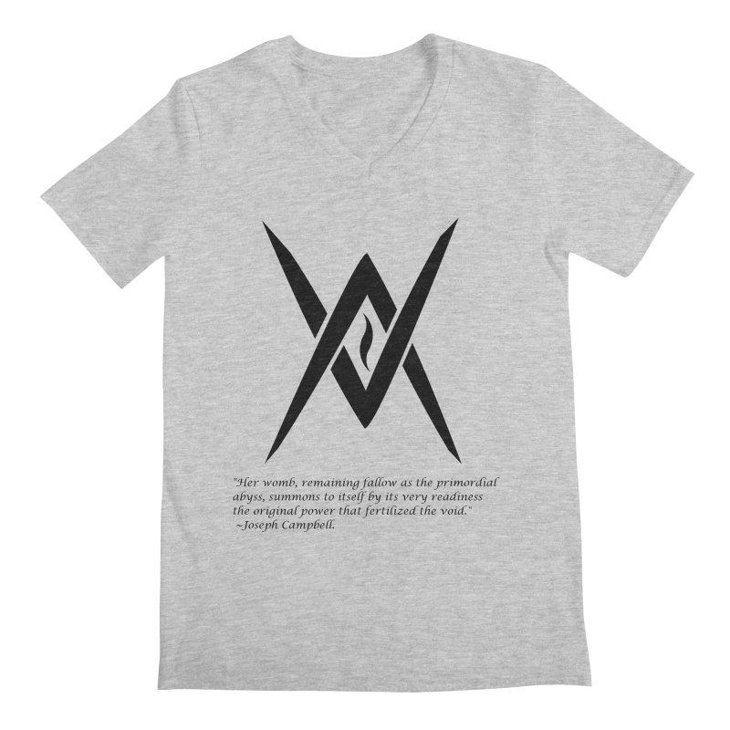 Tantric Black Flame (black) w/ quote Men's Regular V-Neck by Venus Aeon (clothing)