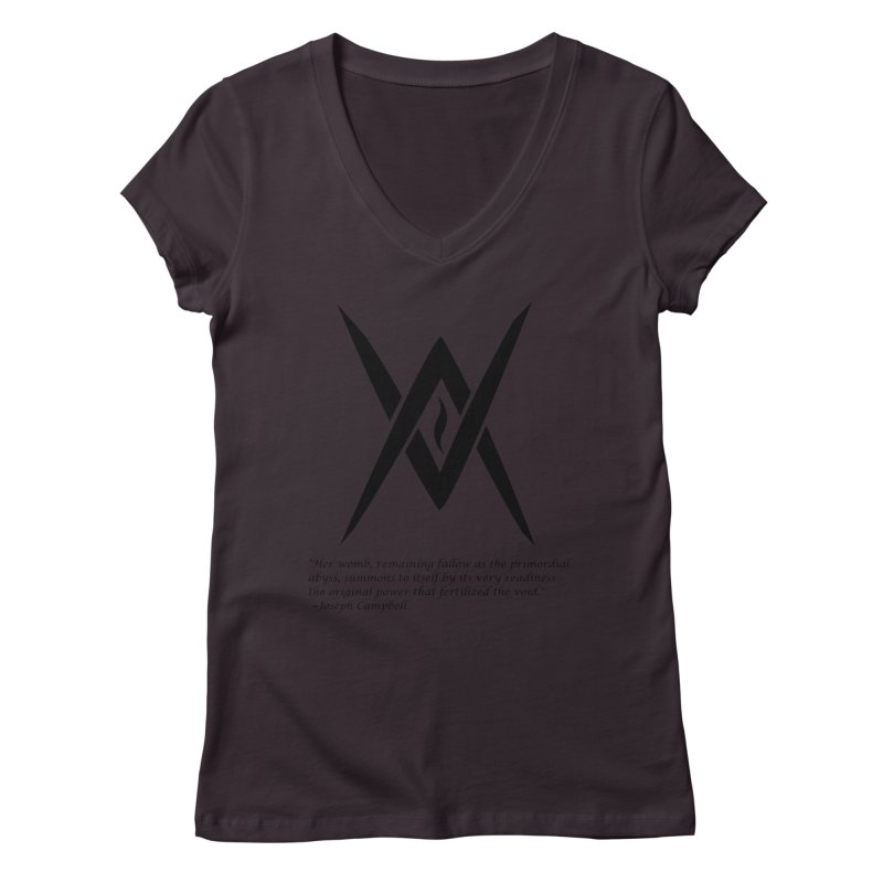 Tantric Black Flame (black) w/ quote Women's V-Neck by Venus Aeon (clothing)