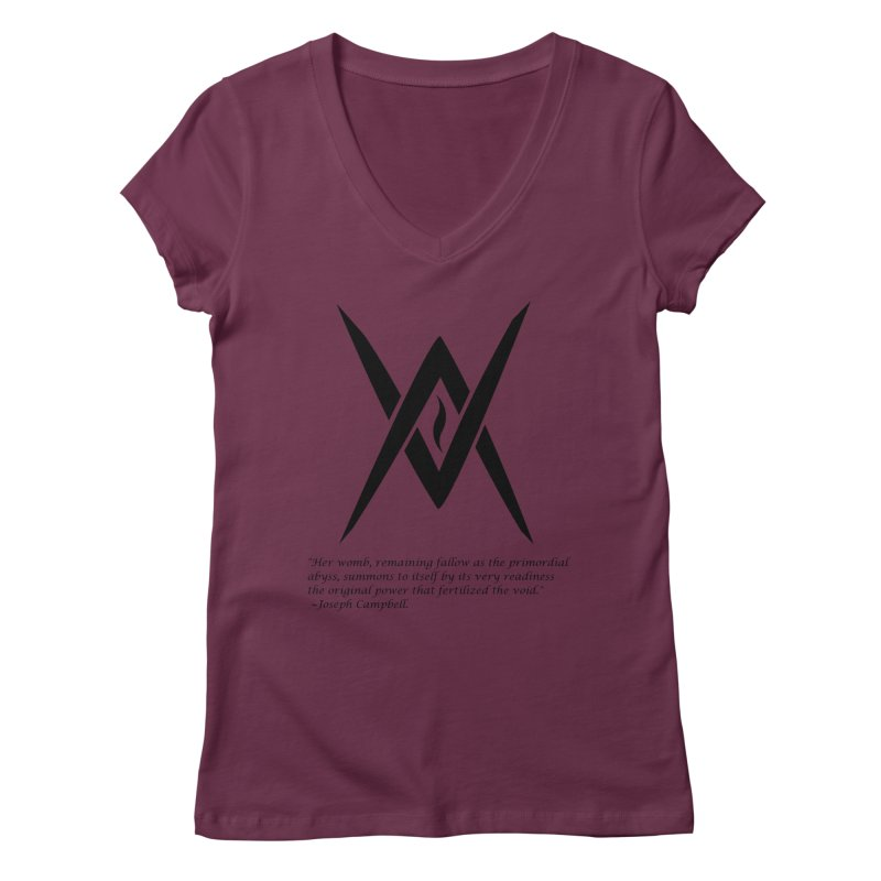 Tantric Black Flame (black) w/ quote Women's Regular V-Neck by Venus Aeon (clothing)