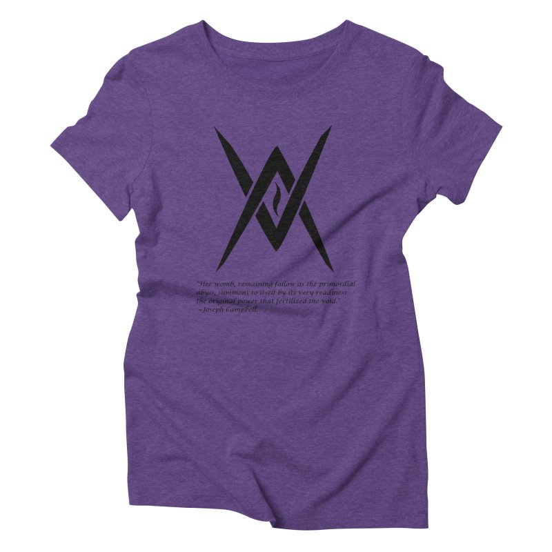 Tantric Black Flame (black) w/ quote in Women's Triblend T-shirt Tri-Purple by Venus Aeon (clothing)