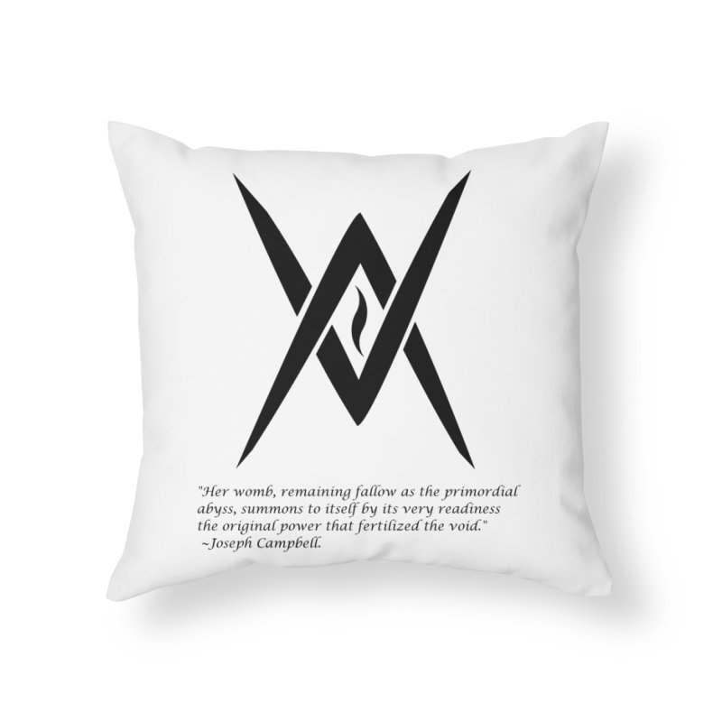Tantric Black Flame (black) w/ quote Home Throw Pillow by Venus Aeon (clothing)