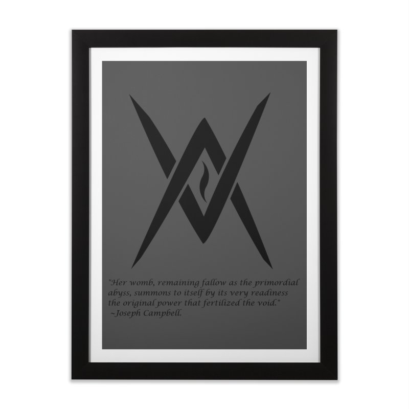 Tantric Black Flame (black) w/ quote Home Framed Fine Art Print by Venus Aeon (clothing)