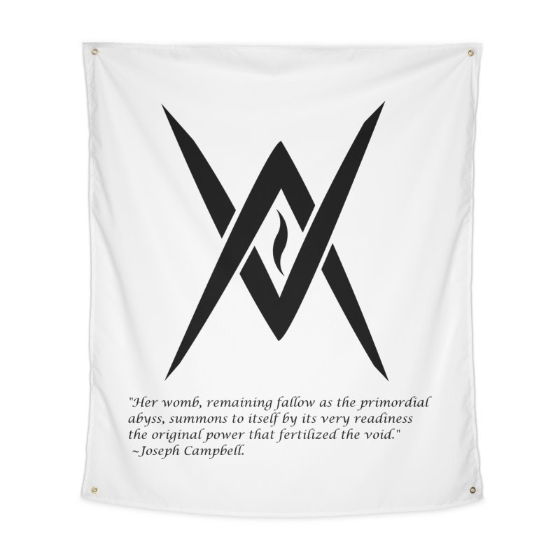 Tantric Black Flame (black) w/ quote Home Tapestry by Venus Aeon (clothing)