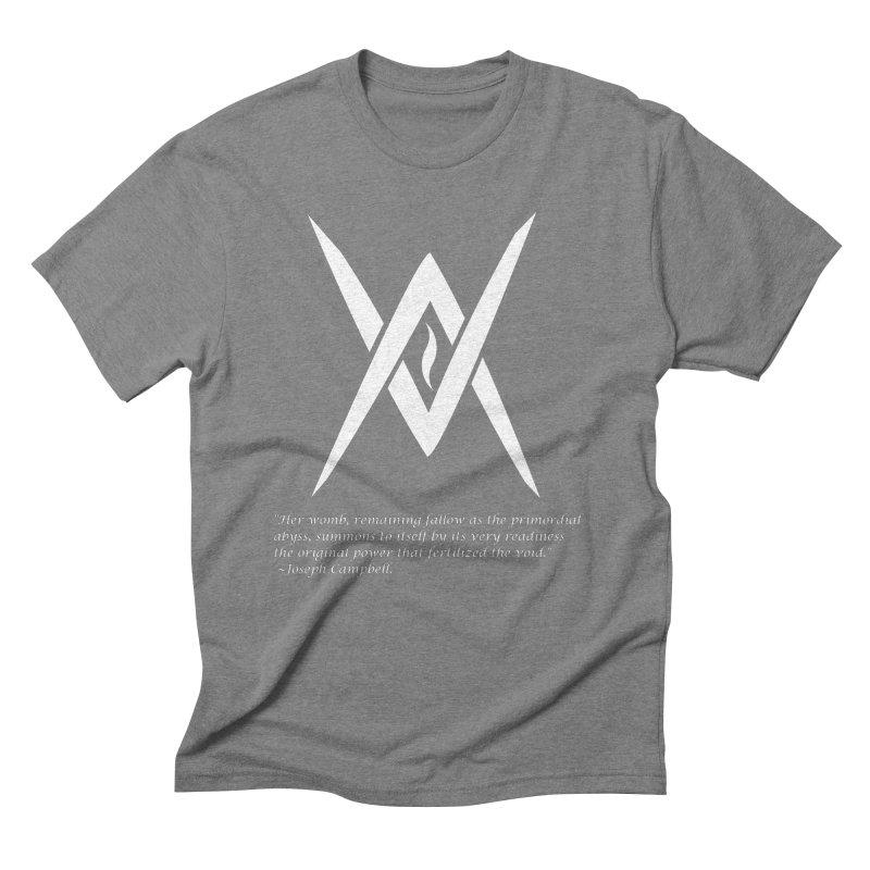 Tantric Black Flame (white) w/ quote Men's T-Shirt by Venus Aeon (clothing)