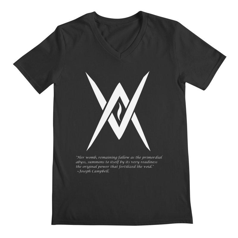 Tantric Black Flame (white) w/ quote Men's V-Neck by Venus Aeon (clothing)