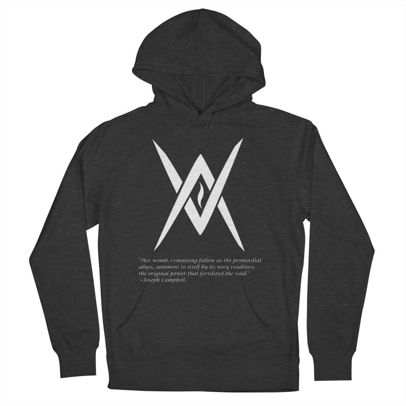 Tantric Black Flame (white) w/ quote Women's French Terry Pullover Hoody by Venus Aeon (clothing)