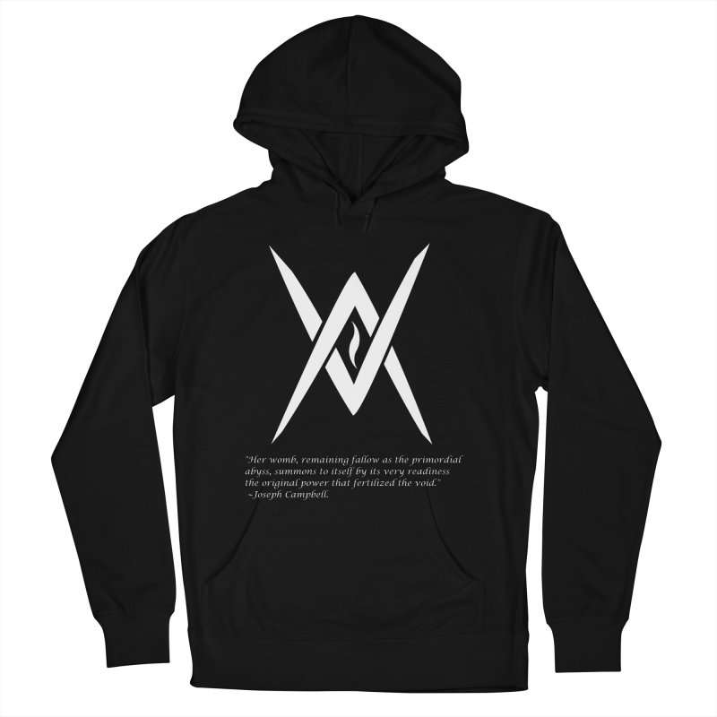 Tantric Black Flame (white) w/ quote Men's French Terry Pullover Hoody by Venus Aeon (clothing)