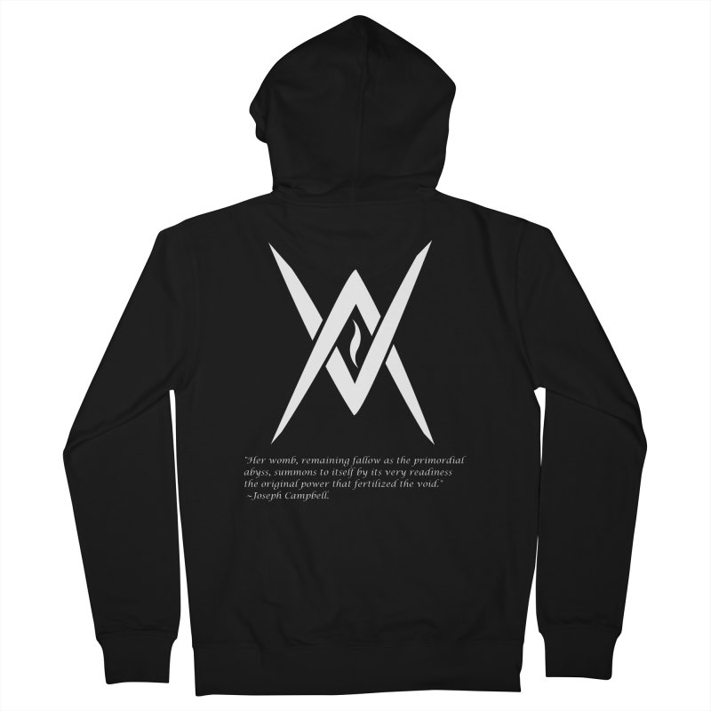 Tantric Black Flame (white) w/ quote Women's French Terry Zip-Up Hoody by Venus Aeon (clothing)