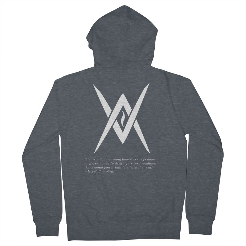 Tantric Black Flame (white) w/ quote Men's French Terry Zip-Up Hoody by Venus Aeon (clothing)
