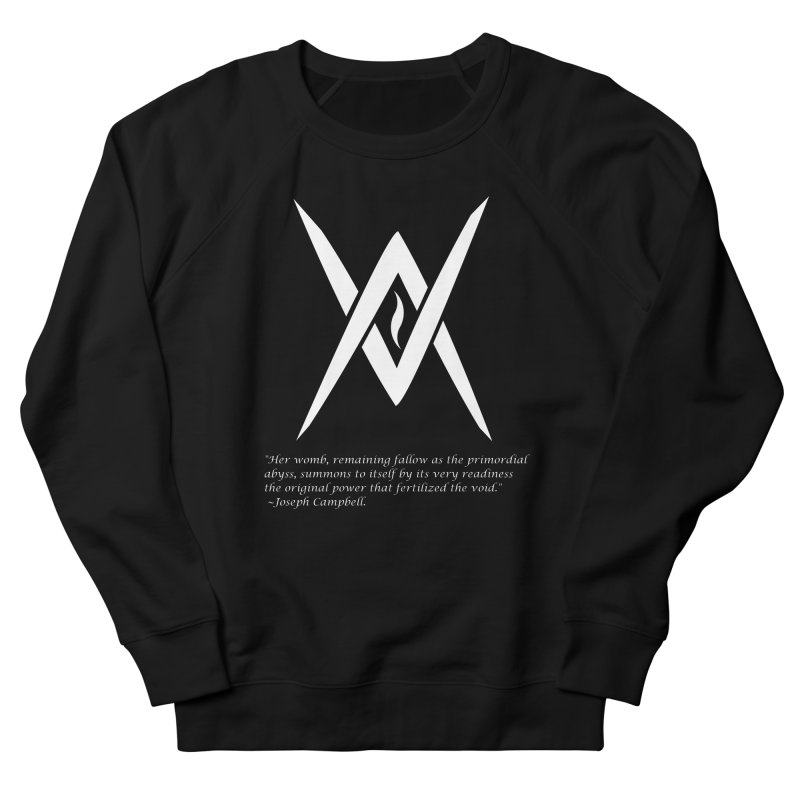 Tantric Black Flame (white) w/ quote Women's French Terry Sweatshirt by Venus Aeon (clothing)