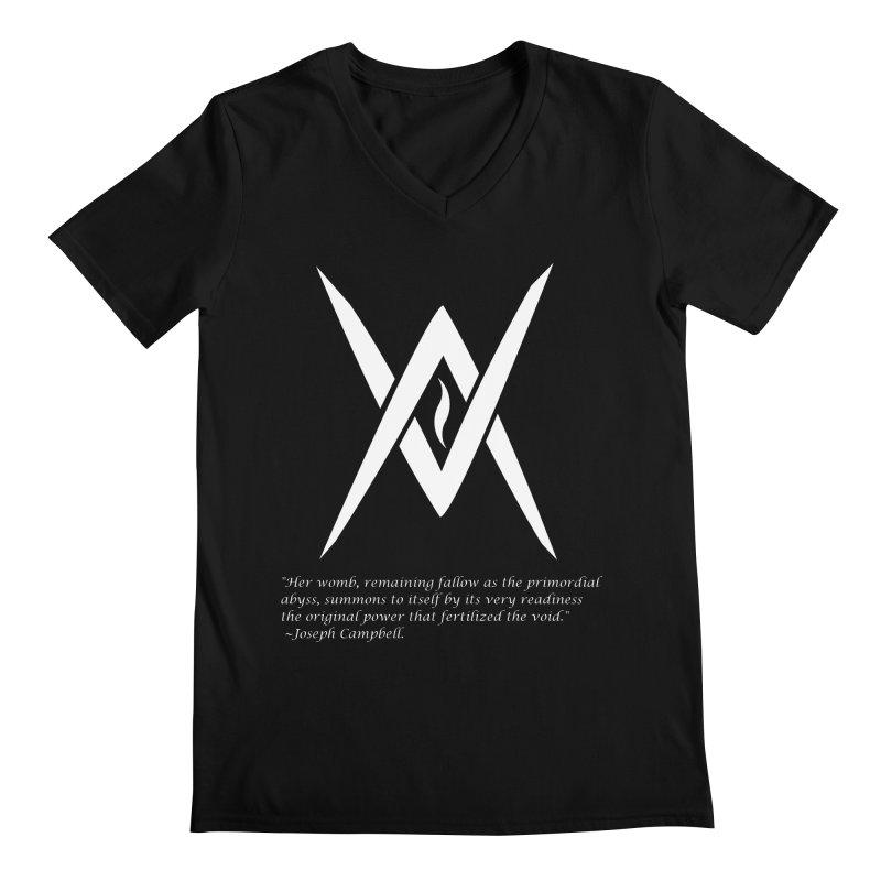 Tantric Black Flame (white) w/ quote Men's Regular V-Neck by Venus Aeon (clothing)