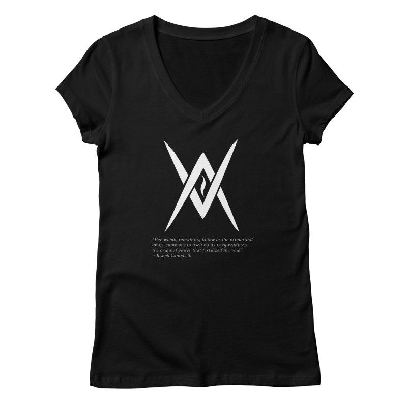 Tantric Black Flame (white) w/ quote Women's V-Neck by Venus Aeon (clothing)