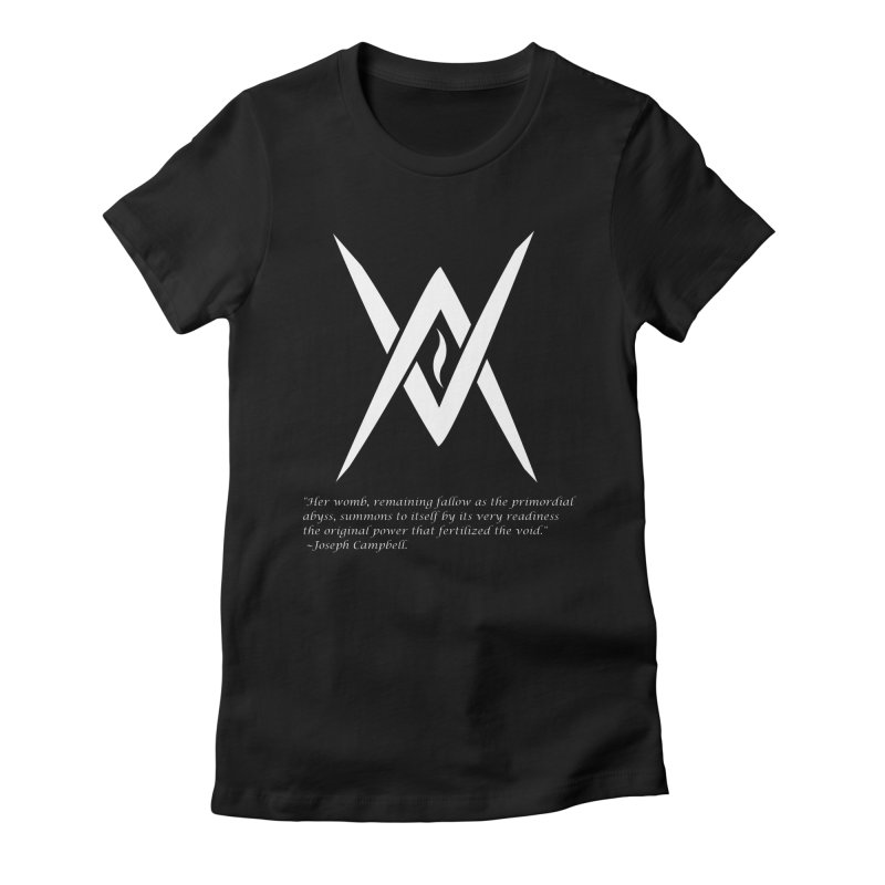 Tantric Black Flame (white) w/ quote Women's Fitted T-Shirt by Venus Aeon (clothing)