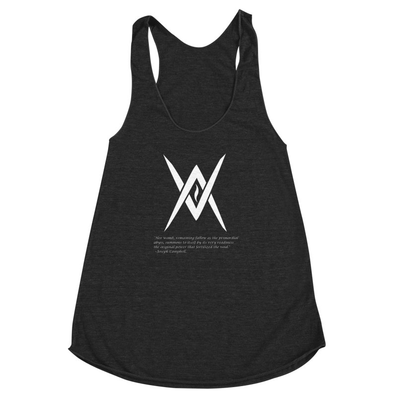 Tantric Black Flame (white) w/ quote Women's Racerback Triblend Tank by Venus Aeon (clothing)