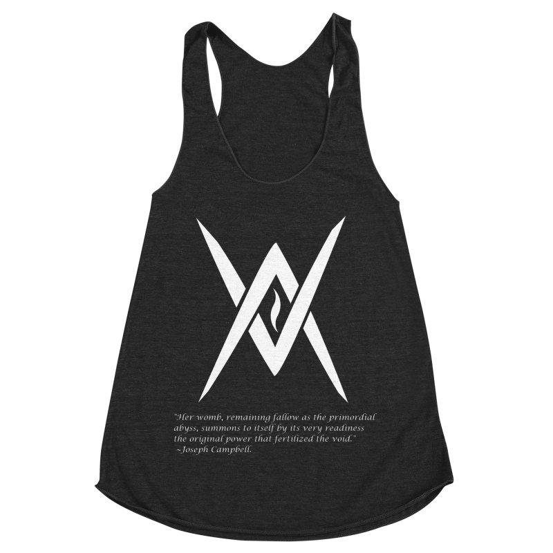 Tantric Black Flame (white) w/ quote Women's Racerback Triblend Tank by Venus Aeon (clothing)