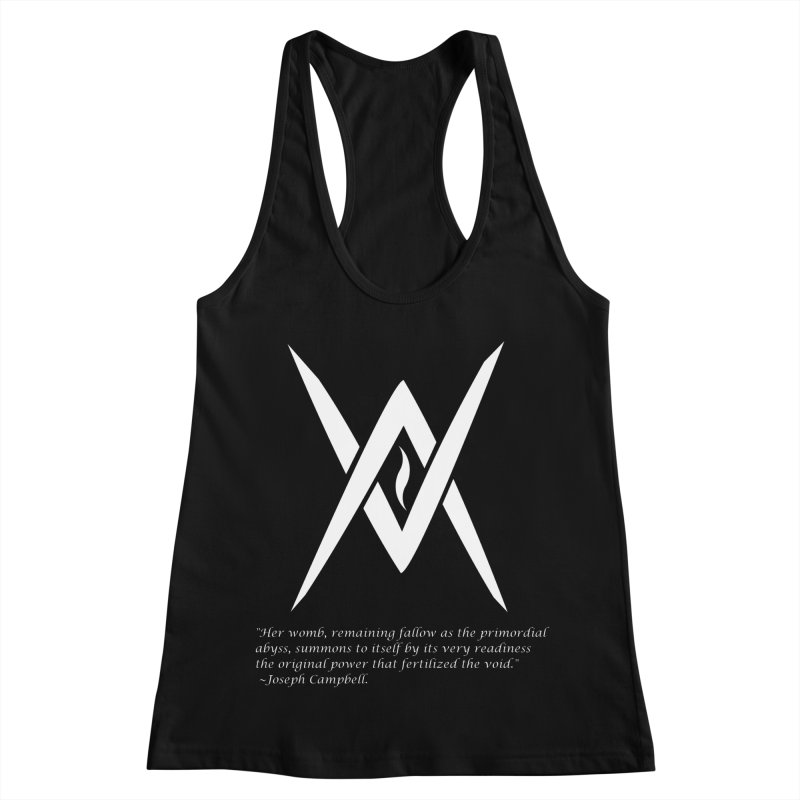 Tantric Black Flame (white) w/ quote Women's Racerback Tank by Venus Aeon (clothing)