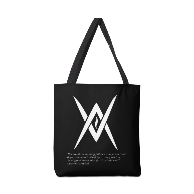 Tantric Black Flame (white) w/ quote Accessories Tote Bag Bag by Venus Aeon (clothing)