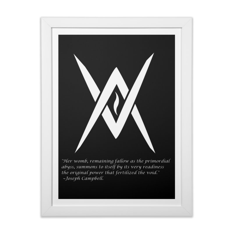 Tantric Black Flame (white) w/ quote Home Framed Fine Art Print by Venus Aeon (clothing)