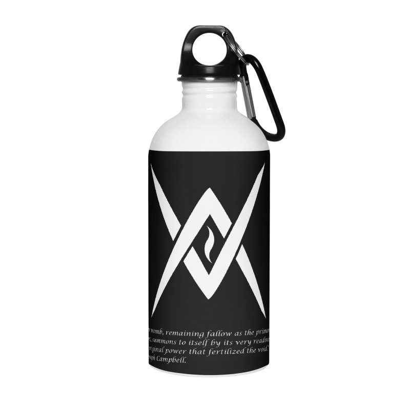 Tantric Black Flame (white) w/ quote Accessories Water Bottle by Venus Aeon (clothing)