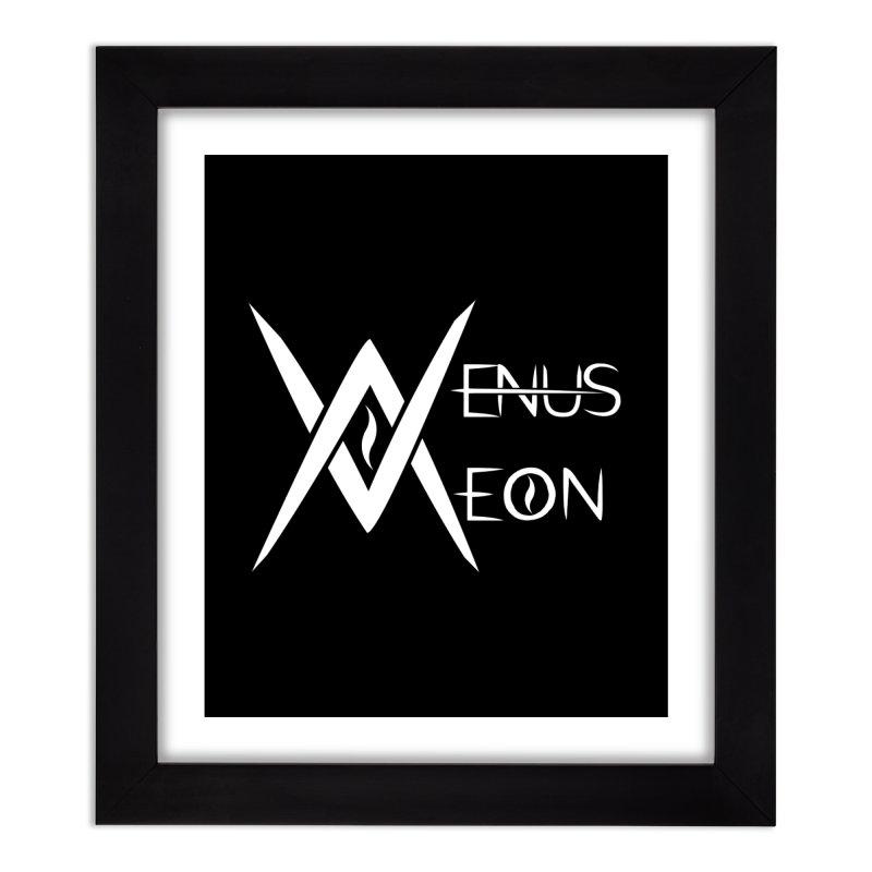 Venus Aeon logo (white) Home Framed Fine Art Print by Venus Aeon (clothing)