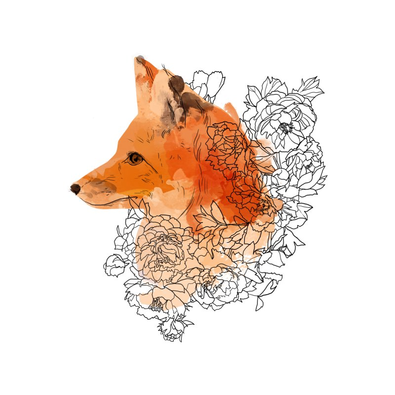 Watercolor fox with flowers by venygret's Artist Shop