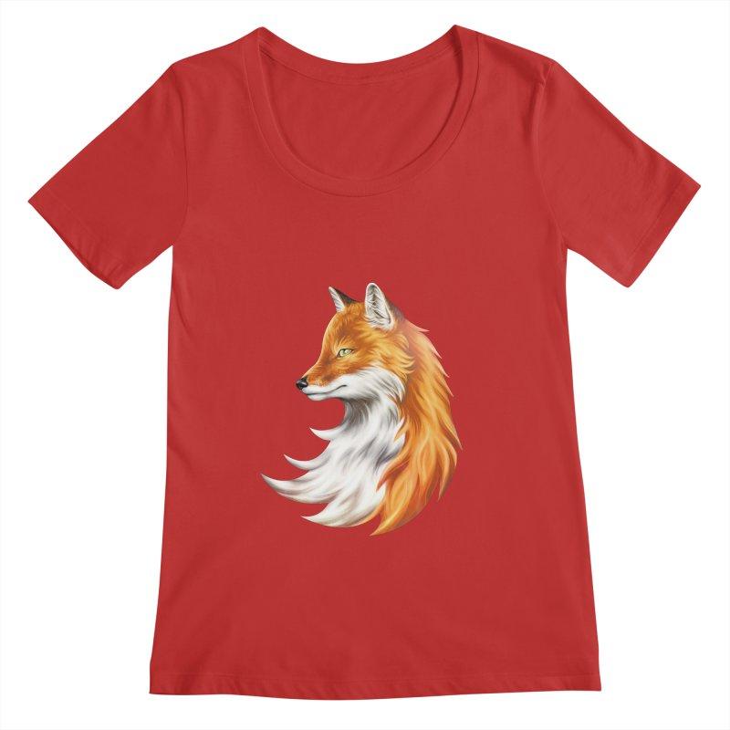 Magic Fox Women's Regular Scoop Neck by vervex's shop
