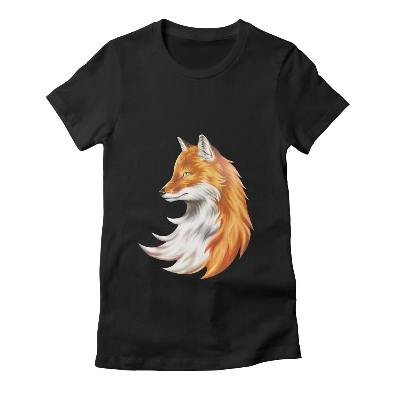 Magic Fox Women's Fitted T-Shirt by vervex's shop
