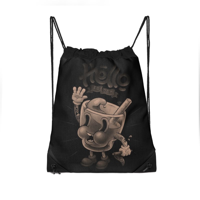 Hello Friday Accessories Drawstring Bag Bag by VET Shop