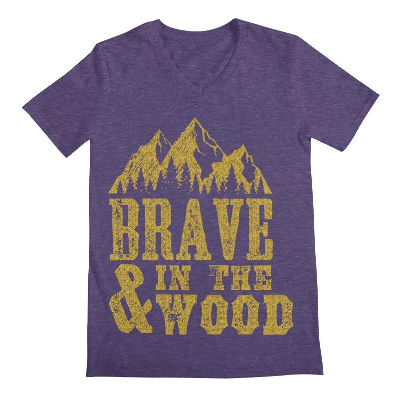 Brave and in the Wood - Gold Men's Regular V-Neck by Vet Design's Shop