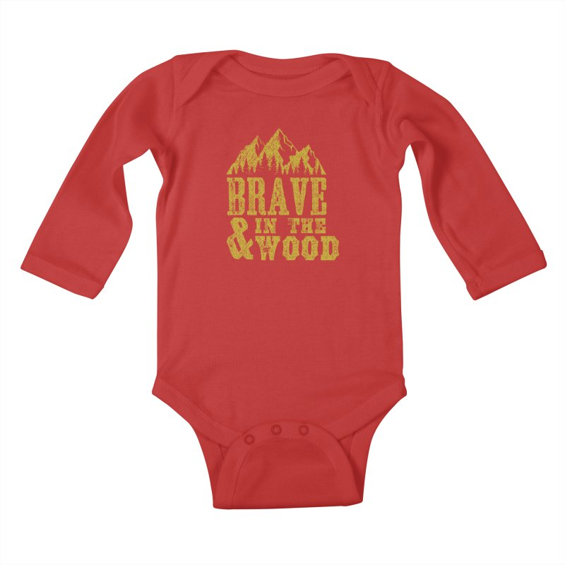 Brave and in the Wood - Gold Kids Baby Longsleeve Bodysuit by Vet Design's Shop