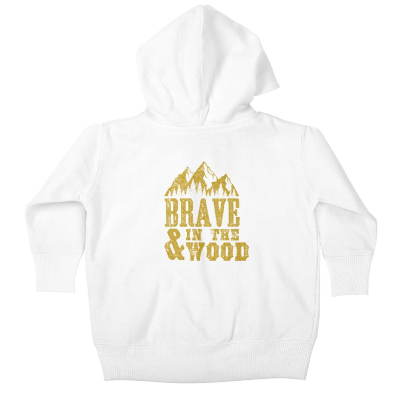 Brave and in the Wood - Gold Kids Baby Zip-Up Hoody by Vet Design's Shop