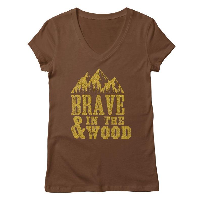 Brave and in the Wood - Gold Women's Regular V-Neck by Vet Design's Shop