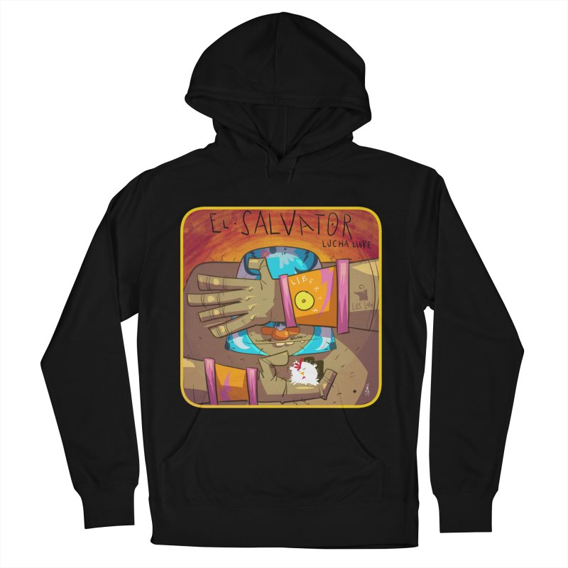 Lucha! El Salvator Men's French Terry Pullover Hoody by viborjuhasart's Artist Shop