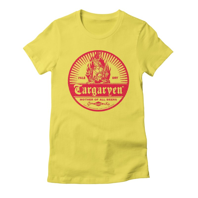 Mother of all beers in Women's Fitted T-Shirt Vibrant Yellow by Victor Calahan
