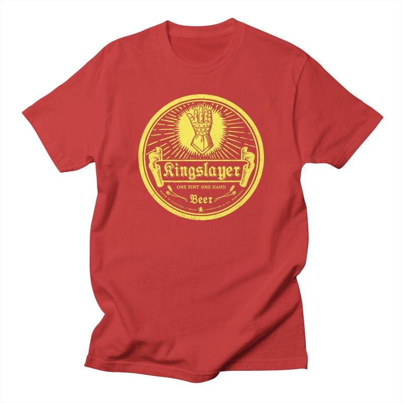 One Hand One Pint in Men's Regular T-Shirt Red by Victor Calahan