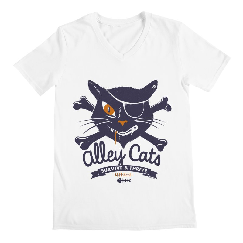 Alley Cats Men's V-Neck by Victor Calahan