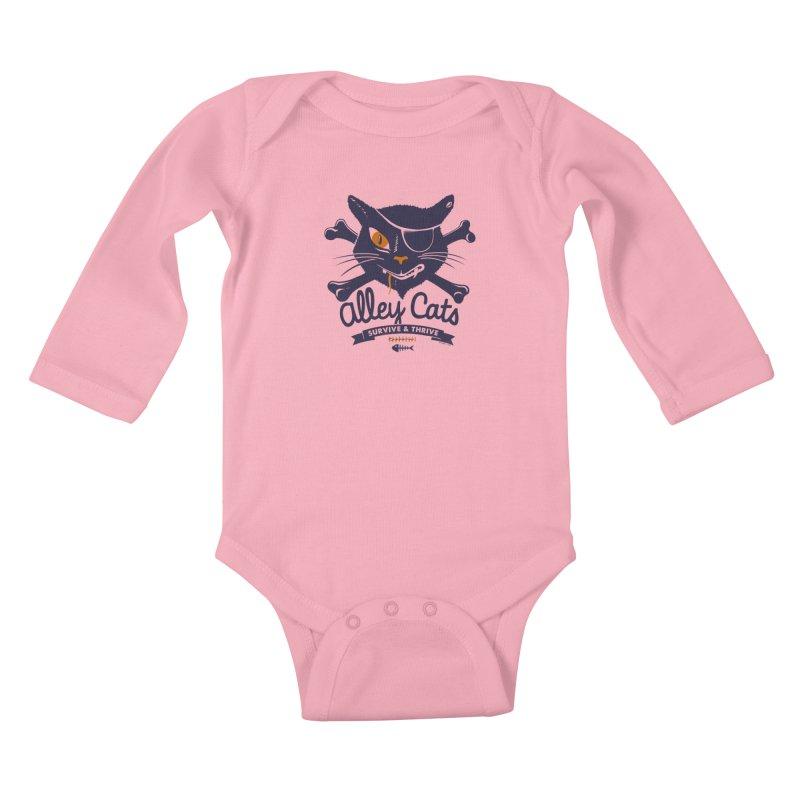 Alley Cats Kids Baby Longsleeve Bodysuit by Victor Calahan