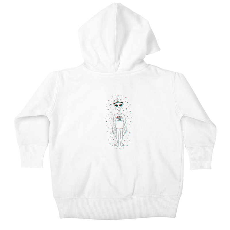 Don't believe the hype Kids Baby Zip-Up Hoody by Victor Calahan