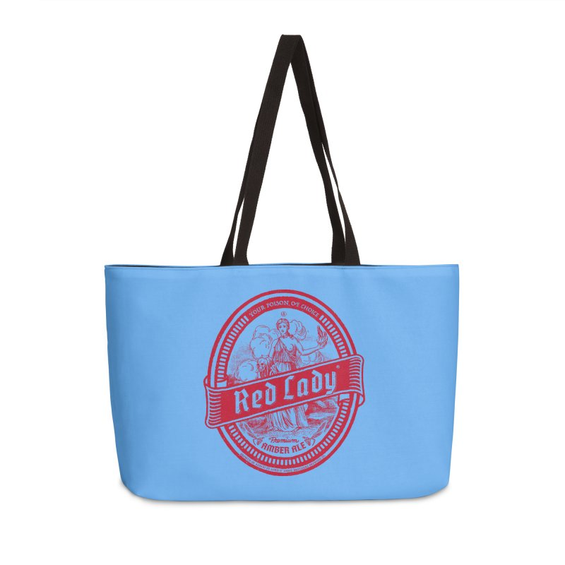 Red Lady Accessories Weekender Bag Bag by Victor Calahan