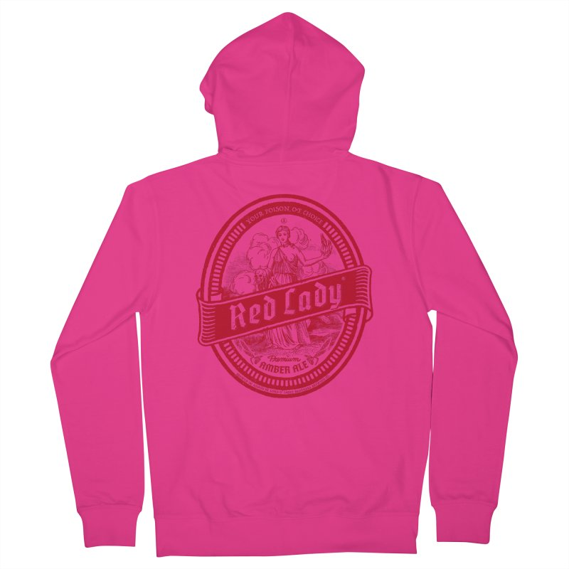 Red Lady Men's French Terry Zip-Up Hoody by Victor Calahan