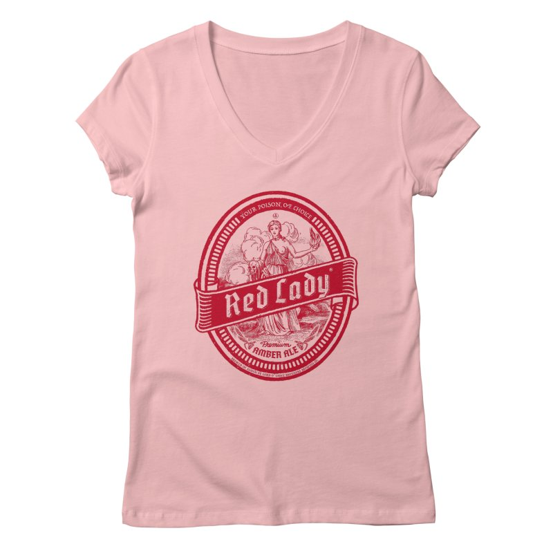 Red Lady Women's Regular V-Neck by Victor Calahan
