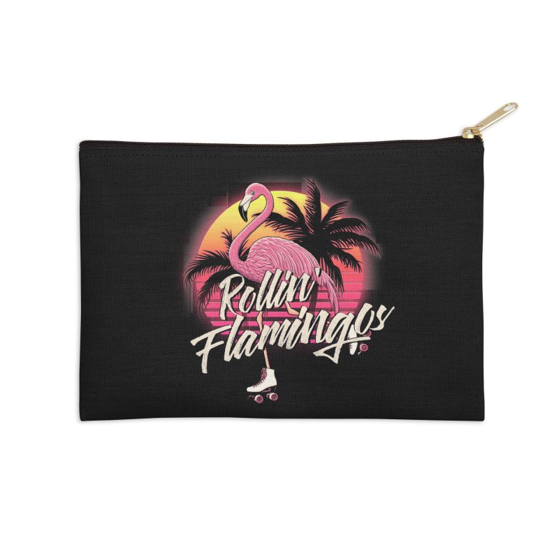 Rollin' Flamingos Accessories Zip Pouch by Victor Calahan