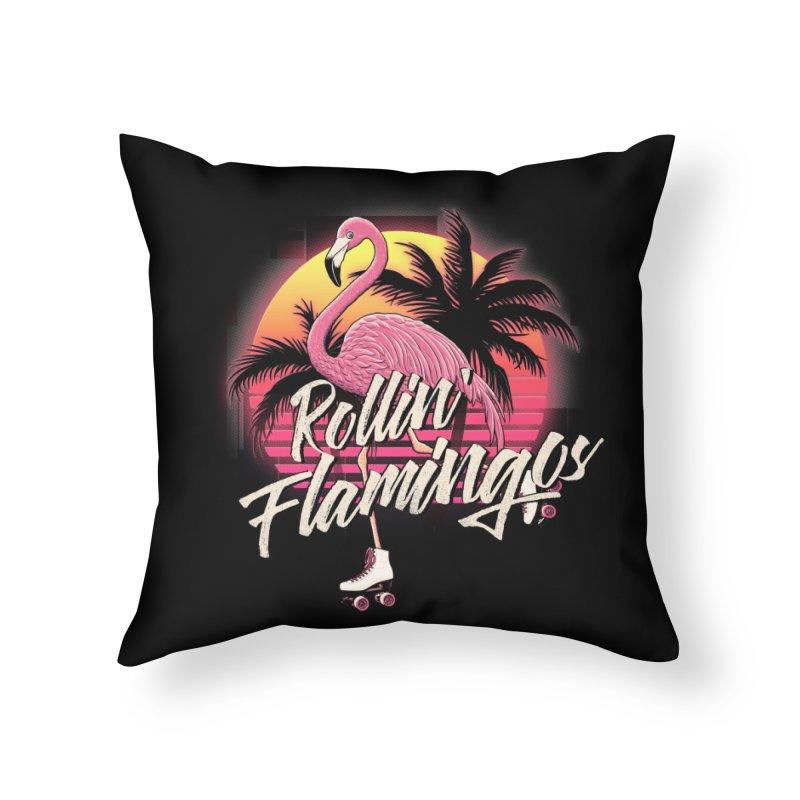 Rollin' Flamingos Home Throw Pillow by Victor Calahan