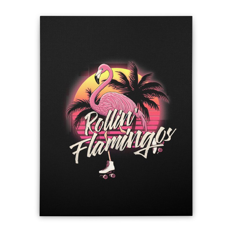 Rollin' Flamingos Home Stretched Canvas by Victor Calahan