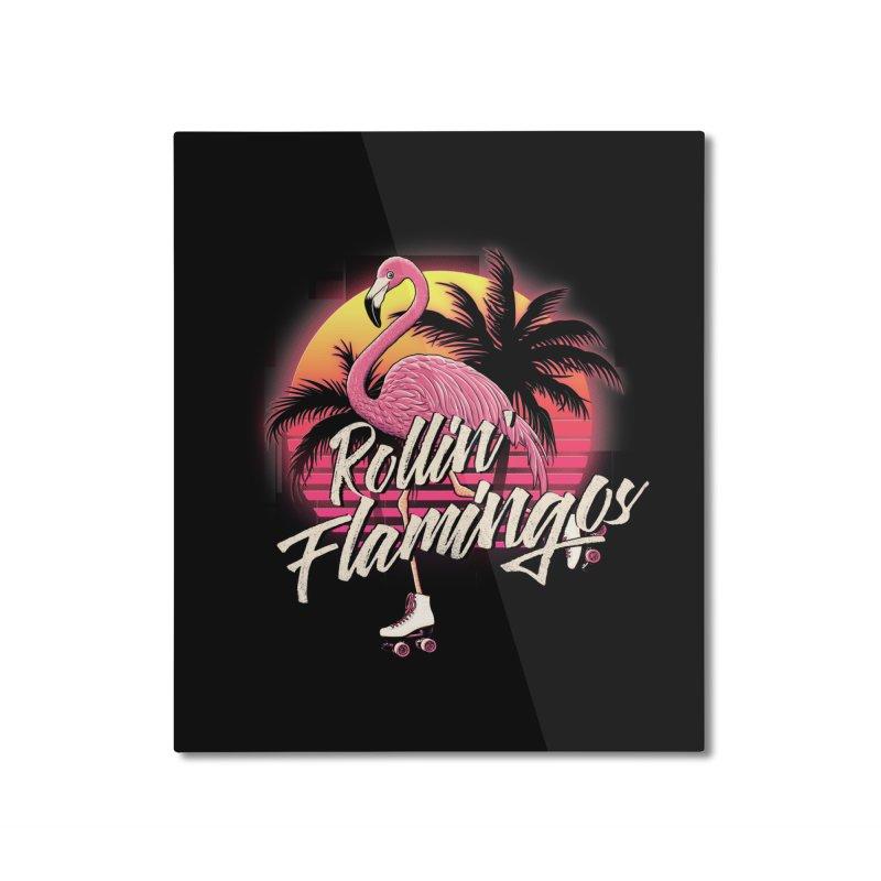 Rollin' Flamingos Home Mounted Aluminum Print by Victor Calahan
